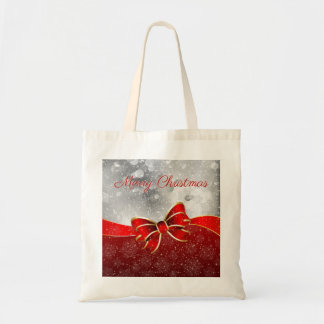 Red Christmas Sparkles Bow Silver Glitter Tote Bag