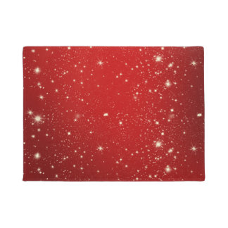 Red Christmas Stars Holiday Glitter Doormat