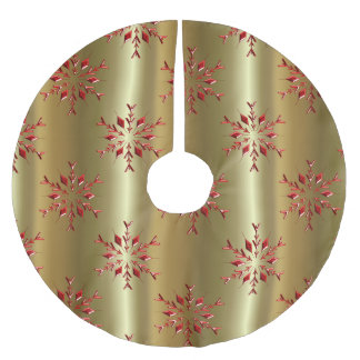 Red Christmas Stars on Gold Brushed Polyester Tree Skirt