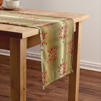 Red Christmas Stars on Gold Short Table Runner
