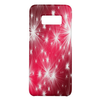 Red Christmas stars with snowflakes and poinsettia Case-Mate Samsung Galaxy S8 Case