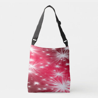Red Christmas stars with snowflakes and poinsettia Crossbody Bag