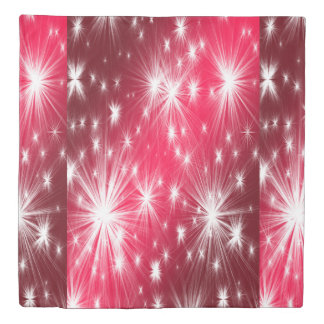Red Christmas stars with snowflakes and poinsettia Duvet Cover