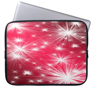 Red Christmas stars with snowflakes and poinsettia Laptop Sleeve