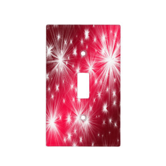 Red Christmas stars with snowflakes and poinsettia Light Switch Cover