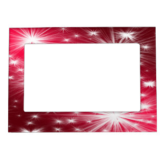 Red Christmas stars with snowflakes and poinsettia Magnetic Picture Frame