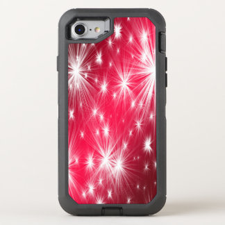 Red Christmas stars with snowflakes and poinsettia OtterBox Defender iPhone 8/7 Case