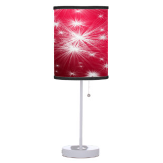 Red Christmas stars with snowflakes and poinsettia Table Lamp