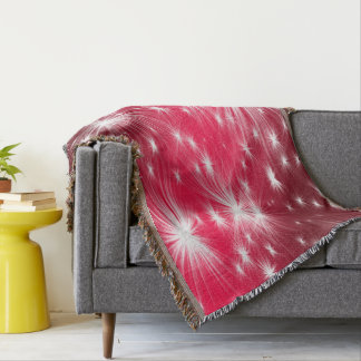 Red Christmas stars with snowflakes and poinsettia Throw Blanket