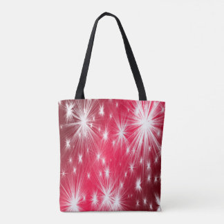 Red Christmas stars with snowflakes and poinsettia Tote Bag