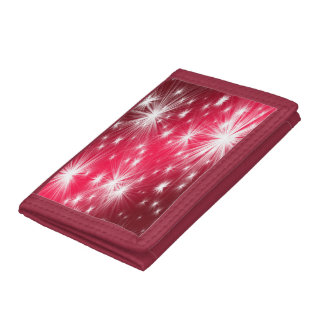 Red Christmas stars with snowflakes and poinsettia Trifold Wallet