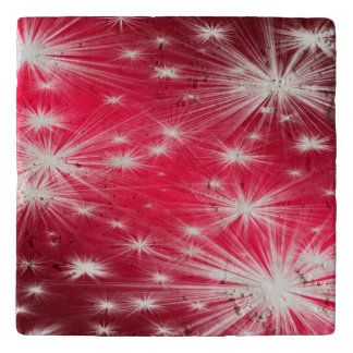 Red Christmas stars with snowflakes and poinsettia Trivet