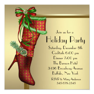 Red Christmas Stocking Corporate Christmas Party Card