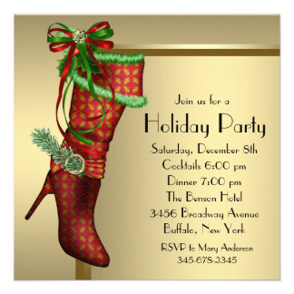 Red Christmas Stocking Corporate Christmas Party Custom Announcement