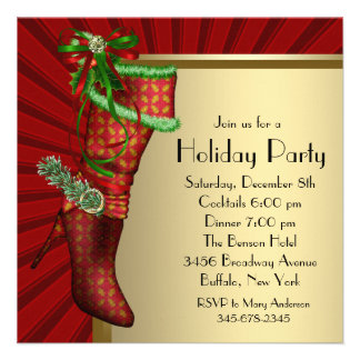 Red Christmas Stocking Red Gold Christmas Party Personalized Invitations