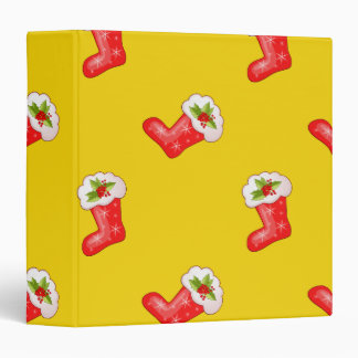 Red Christmas Stockings on Yellow 3 Ring Binder