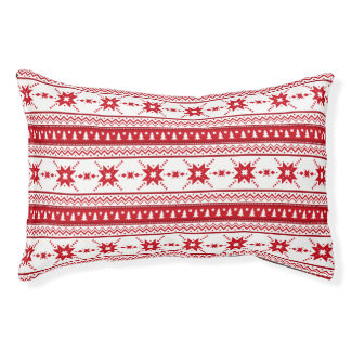 Red Christmas Sweater Inspired Pattern Pet Bed