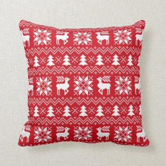 Red Christmas Sweater Reindeer Poinsettias Pattern Throw Pillow