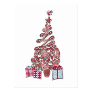 Red Christmas Tree and Birdy Postcard