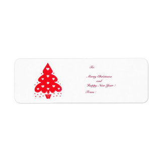 RED CHRISTMAS TREE HOLIDAY PARTY RETURN ADDRESS LABELS
