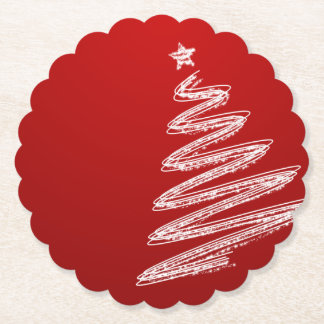Red Christmas Tree Paper Coaster