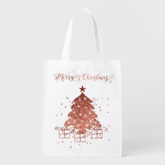 Red Christmas tree Reusable Grocery Bag