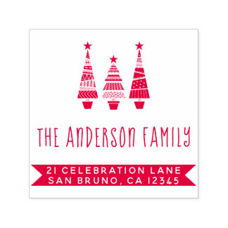 Red Christmas Trees & Family Name Return Address Self-inking Stamp