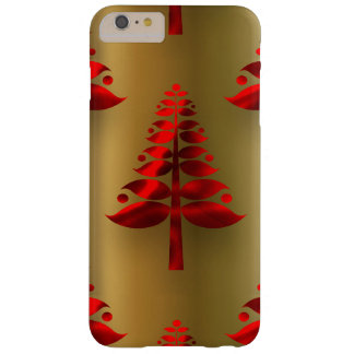 Red Christmas Trees on Gold Barely There iPhone 6 Plus Case