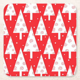 Red Christmas Trees Pattern Square Paper Coaster