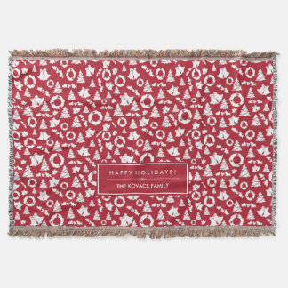 Red Christmas Trees Wreath Bells and Holly Throw Blanket
