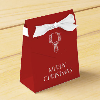 Red Christmas White Reindeer Personalized Message Favor Box