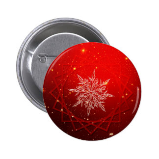 Red christmas white snow 2 inch round button