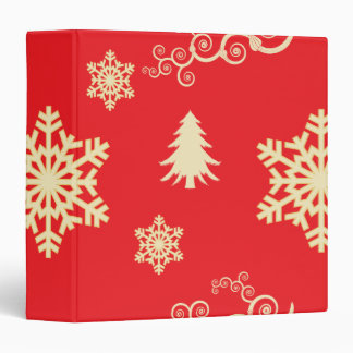 Red Christmas with Cream Snowflakes 3 Ring Binders