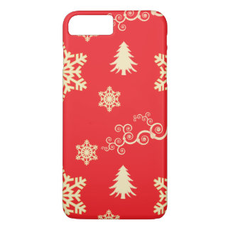 Red Christmas with Cream Snowflakes iPhone 8 Plus/7 Plus Case