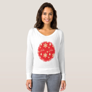 Red Christmas with Cream Snowflakes T-shirt