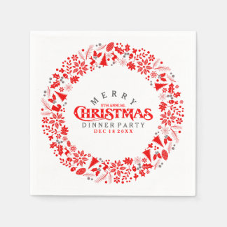 Red Christmas Wreath Dinner Party Invite Disposable Napkin
