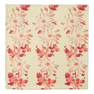 Red Chrysanthemum Japanese Flowers Duvet Cover