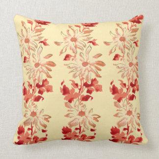 Red Chrysanthemum Japanese Flowers Throw Pillow