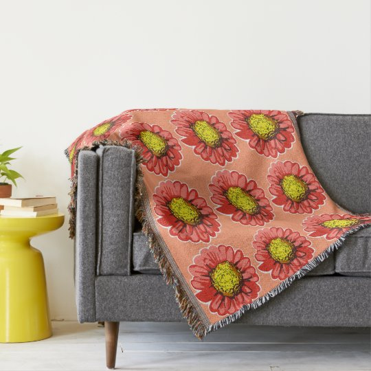Red Chrysanthemums Print Soft Peach Throw Blanket