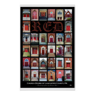 """RED Church Doors of Lancaster County, PA"" Poster"