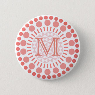 Red Circles Customisable Monogram Badge 2 Inch Round Button