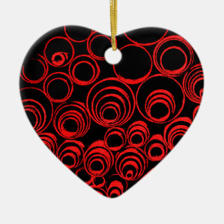 Red circles, rolls, ovals abstraction pattern ceramic heart ornament