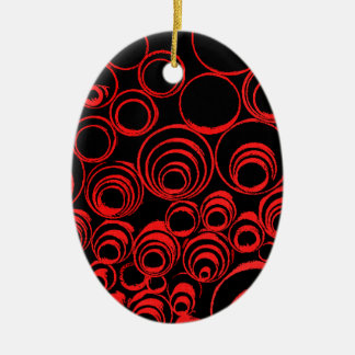 Red circles, rolls, ovals abstraction pattern ceramic oval ornament
