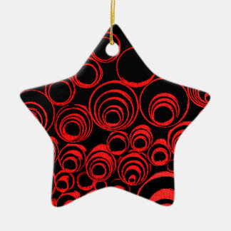 Red circles, rolls, ovals abstraction pattern ceramic star ornament