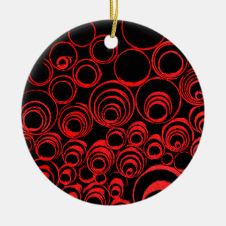Red circles, rolls, ovals abstraction pattern round ceramic ornament