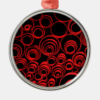 Red circles, rolls, ovals abstraction pattern Silver-Colored round ornament