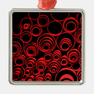 Red circles, rolls, ovals abstraction pattern Silver-Colored square ornament
