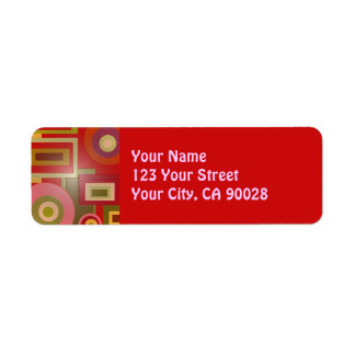 red circles squares abstract return address label