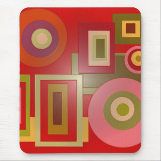 red circles squares mouse pad