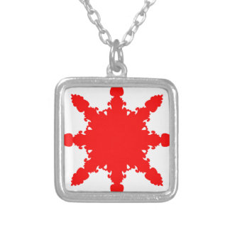 Red Circular Print Silver Plated Necklace